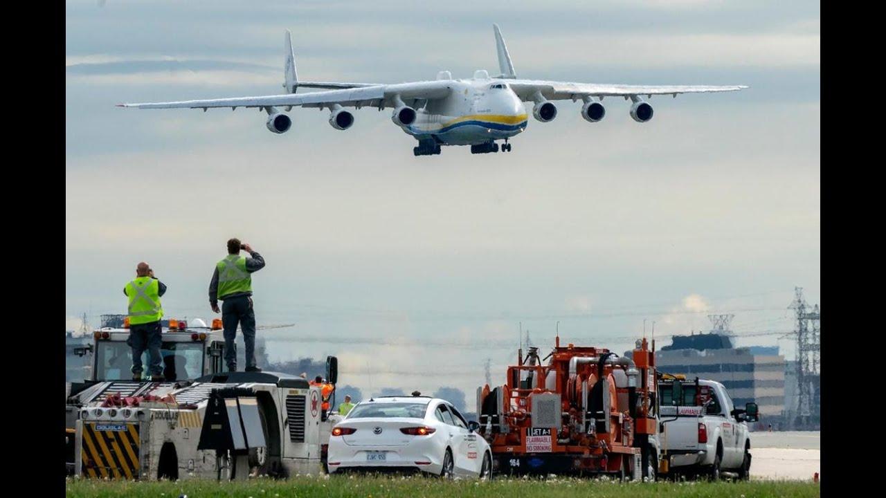 Ан-225 МРИЯ. Красивая посадка самого большого самолета в Канаде, Торонто. Видео из кабины экипажа.