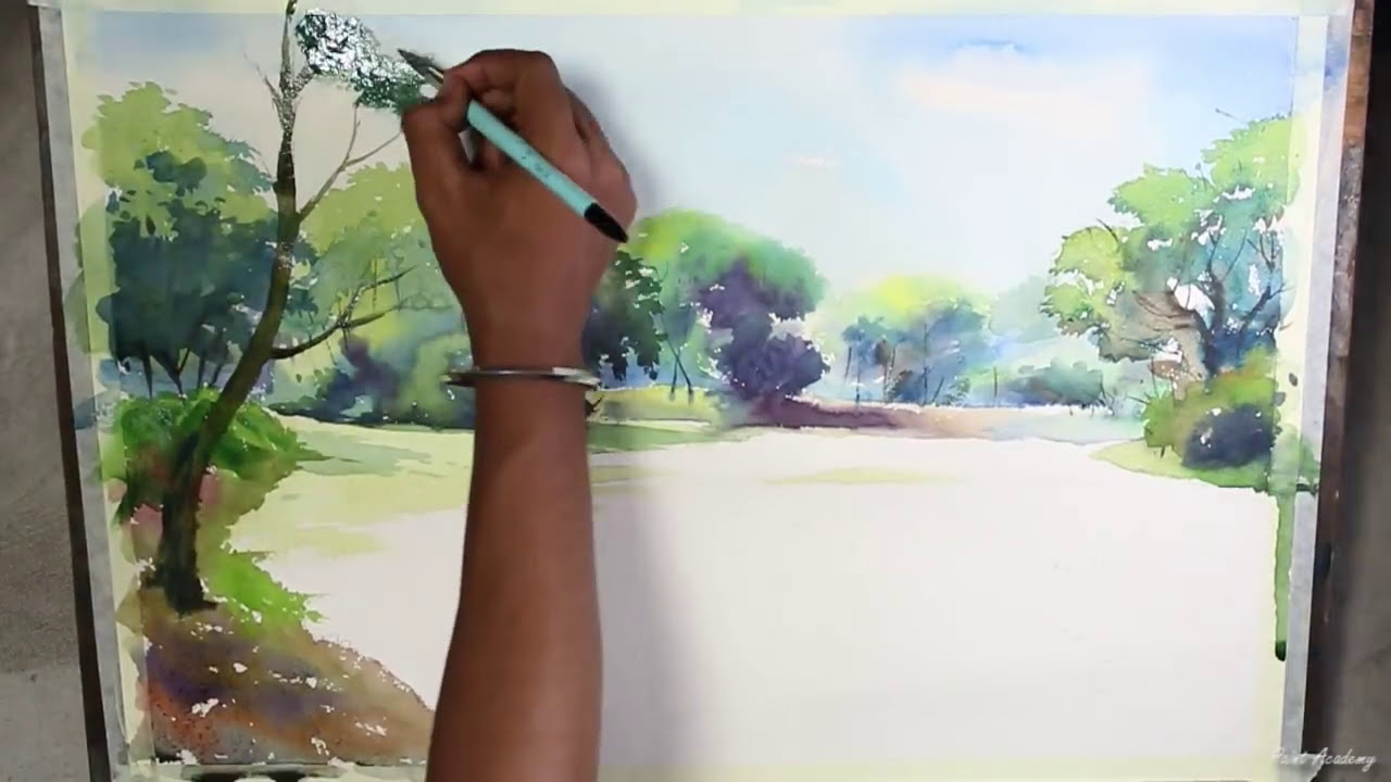 watercolor painting speed art landscape by paint academy
