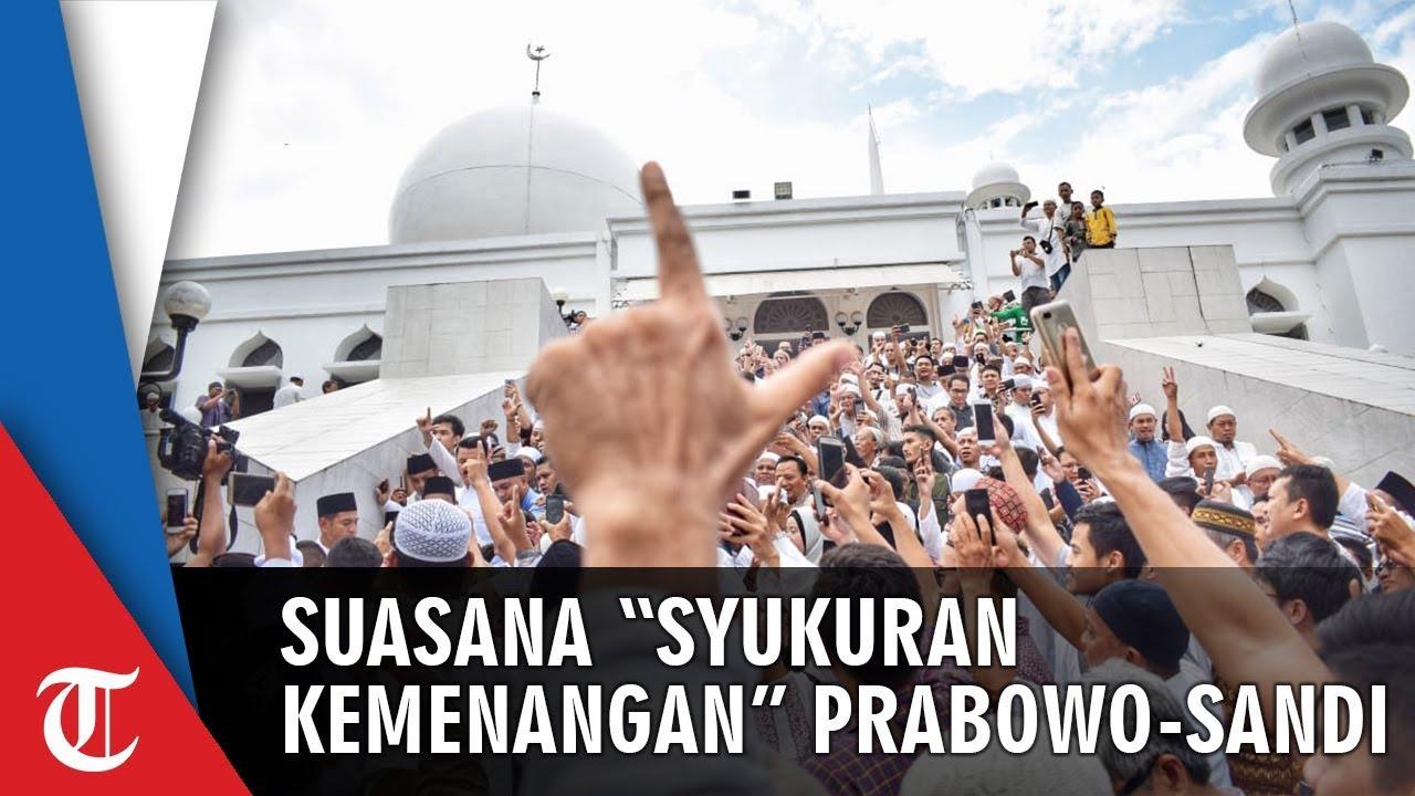Syukuran Kemenangan Prabowo-Sandiaga, Massa Penuhi Kertanegara