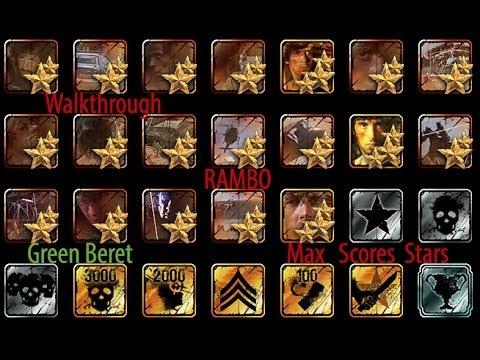Rambo The video game  Walkthrough 2 part mode 3 stars Green Beret Max Score by cukorking Full En Español