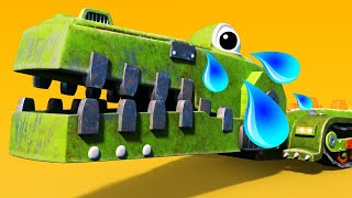 AnimaCars - The CROCODILE ROCK CRUSHER  is scared of the storm - kids cartoons with trucks & animals