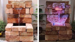 Wow! Amazing Waterfall Fountain Using Bricks And LED | DIY