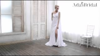 Chiffon One Shoulder Slit Sheath Wedding Dress - Adasbridal(WWD13940)