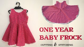 Flower Cut Frock  For 1 Year Old Baby Girl  / Design Cutting And Stitching