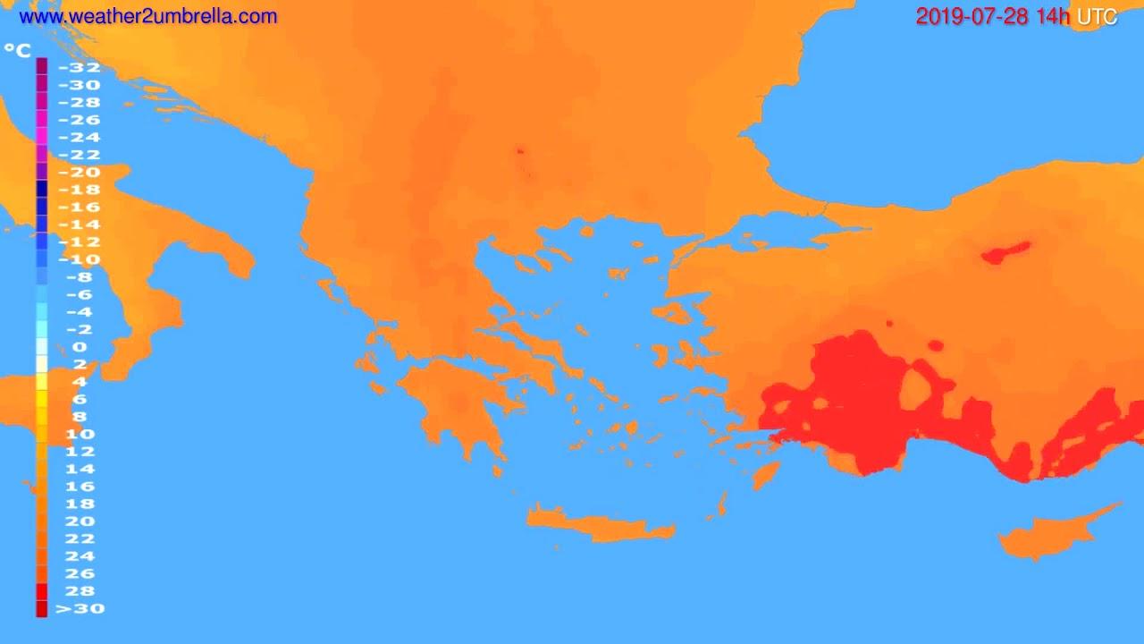 Temperature forecast Greece // modelrun: 00h UTC 2019-07-26