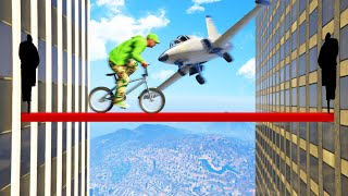 Cross the TIGHTROPE And DODGE The Plane! (GTA 5 Funny Moments)