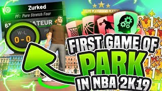 FIRST GAME IN PARK ON NBA 2K19! **GODLY BUILD** Demi-God 2k19!