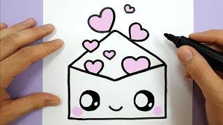 How To Draw A Cute Envelope with Love Hearts EASY - HAPPY DRAWINGS