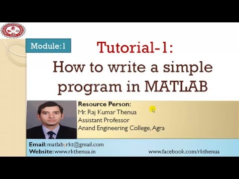 Lecture-5: How to write a simple MATLAB program (Hindi/Urdu)