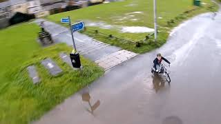 Fpv drone chasing electric scooter.
