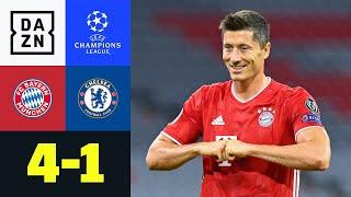 Der FC Bayern München hat sich für das Finalturnier der UEFA Champions League in Lissabon qualifiziert. Gegen den FC Chelsea gab es nach dem 3:0 im Achtelfinal-Hinspiel ein 4:1 in der Allianz Arena. Robert Lewandowski war mit zwei Toren und zwei Vorlagen an allen Münchner Treffern beteiligt, für die Blues traf Tammy Abraham.  ►Sichere dir deinen Gratismonat: http://bit.ly/DAZNerleben ►Alle Infos zur UEFA Champions League: https://bit.ly/2GD8lqf ►Das Programm von DAZN: http://bit.ly/2uFkulD ►DAZN auch auf Facebook: https://bit.ly/2lUGipo  +++ Die besten Fußball Highlights aus allen Wettbewerben auf YouTube +++ ►DAZN UEFA Champions League auf YouTube abonnieren: https://bit.ly/2WL75qD  ►DAZN UEFA Europa League auf YouTube abonnieren: https://bit.ly/2DTc8yb  ►DAZN Bundesliga auf YouTube abonnieren: https://bit.ly/2Daw8dS  ►DAZN Länderspiele auf YouTube abonnieren: https://bit.ly/2XAYNSd ►Goal auf YouTube abonnieren: https://bit.ly/2Bk4H0Y   +++ Die besten Sport Highlights auf YouTube +++ ►DAZN Tennis auf YouTube abonnieren: https://bit.ly/2DblEuK  ►DAZN Darts auf YouTube abonnieren: https://bit.ly/2ScVbqU    ►SPOX auf YouTube abonnieren: https://bit.ly/2MPaQqI   Erlebe tausende Sportevents in HD-Qualität auf allen Geräten. Auf DAZN gibt's europäischen Top-Fußball mit UEFA Champions League, UEFA Europa League, Premier League, Bundesliga-Highlights, La Liga, der Serie A und Ligue 1 sowie den besten US-Sport aus NFL, NBA, MLB und NHL. Dazu: Fight Sports, Darts, Tennis, Hockey und vieles mehr - wann und wo du willst.   ERLEBE DEINEN SPORT LIVE UND AUF ABRUF. AUF ALLEN GERÄTEN.   +++ Über DAZN +++   DAZN ist ein Livesport-Streamingdienst, der es Fans erlaubt, Sport so zu erleben, wie sie es möchten. Egal ob live zu Hause, unterwegs, zeitversetzt oder im Rückblick, DAZN bietet über 8.000 Sportübertragungen pro Jahr und beinhaltet damit das umfangreichste Sportangebot, das es jemals bei einem einzelnen Anbieter gegeben hat.   DAZN bietet einen Gratismonat, kostet danach 11,99