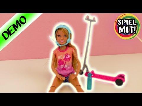 Barbie STACIE + SCOOTER deutsch | Puppe mit coolem City Roller + Skater Helm