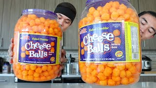 Good Video? Like/Fav & Share!!  Cheese Balls! Morgan & I attempt to consume an entire 28oz Barrel of Cheese Balls! 4200 Calories of Cheese covered... uh... balls...  For this challenge we used the 28oz Barrels. Didn't realize till later there are multiple sizes, so just FYI.  ENJOY!!!  Follow me on Social! INSTAGRAM - https://www.instagram.com/matt_stonie TWITTER - https://www.twitter.com/mattstonie TWITCH - https://www.twitch.tv/mattstonie FACEBOOK - https://www.facebook.com/megatoad MERCH - http://mattstonie.bigcartel.com/  Mailing Address: P.O. Box 22210 San Jose, CA 95151  Credits: Royalty Free Music by http://audiomicro.com/royalty-free-music