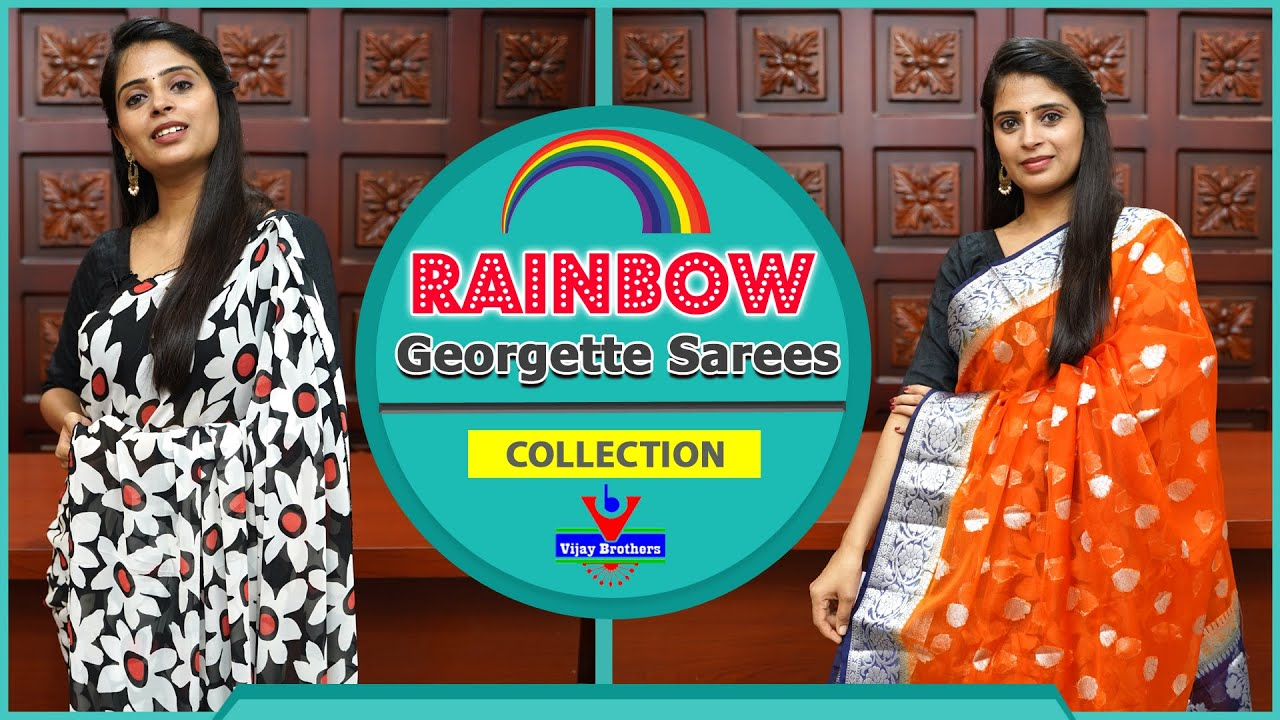 """<p style=""""color: red"""">Video : </p>Latest Rainbow Georgette Sarees  