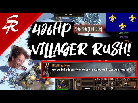486HP VILLAGER RUSH in FREE FOR ALL! Age of Empires III