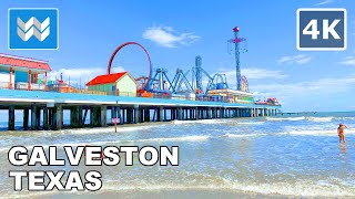 Walking in Galveston Beach in Galveston, Texas USA (South of Houston) | Beach Waves Sounds 🎧【4K】