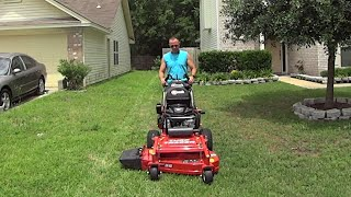 Cutting Grass with the eXmark Turf Tracer 36 Inch Walk Behind Lawn Mower