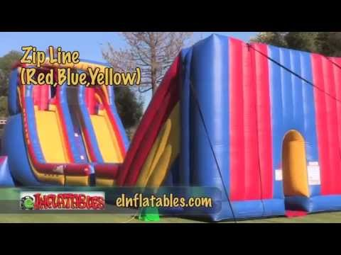 Inflatable Zipline in Red, Blue and Yellow | eInflatables