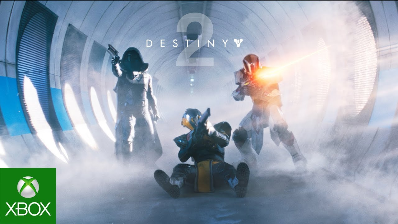 Destiny 2, Front view of three guardians firing down a corridor