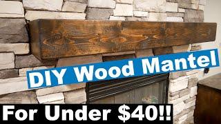 DIY Rustic One Piece Look Wood Mantel