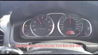 Mazda 6 hidrojen yakıt sistemi ile yol bilgisayarlı ölçüm