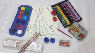 #Doms #Domscolouringkit Doms Water Colour CAKES,  Disney Frozen Colouring Book,Doms  Grip Pencils