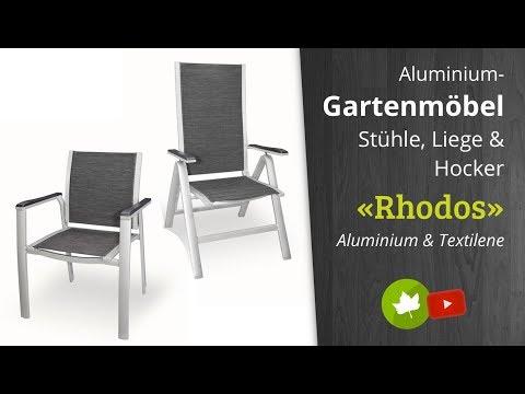 Aluminium Gartenmöbel-Gruppe Rhodos Stapelsessel, Hochlehner, Hocker & Liege