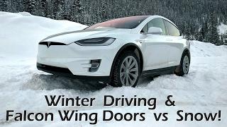 Tesla Model X - Winter Driving & Falcon Wing Doors vs Snow