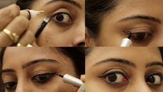 Trick To Apply Perfect Winged Liner For Beginners || Preventing Naturally Soumali