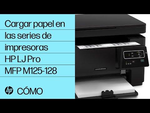 Cargar papel en las series de impresoras HP LaserJet Pro MFP M125-128