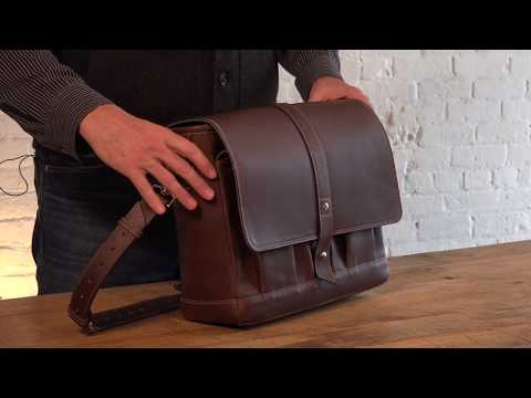 Attaché Leather Messenger Bag Video