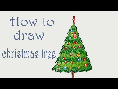 How to draw christmas tree step by step (very easy)
