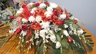 Floral Secrets: How To Make Open Casket Spray Arrangement With Bright Mixed Flowers.