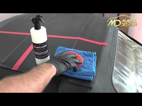 Limpieza y acondicionado de capota de vinilo (maesaldetailer.es)