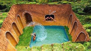 Build Swimming Pool Water Slide Around Secret Underground House With Ancient Skills