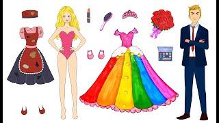 [DIY] Paper Dolls Choose Girlfriend! Colorful & Beautiful Dress Handmade Papercrafts