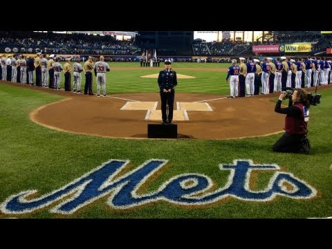 Kristine Rommel sings the National Anthem at Citifield for Military Appreciation Day