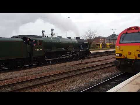 LMS 46100 'Royal Scot' arrives at Chester 6th March 2018
