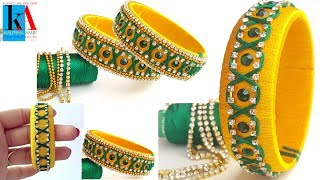 How to make designer Zigzag silk thread bangles | checker model designer silk thread bangles