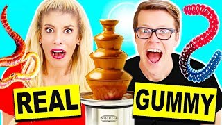 Gummy Food vs Real Food Chocolate Fondue Challenge! Giant Gummy Candy Worm