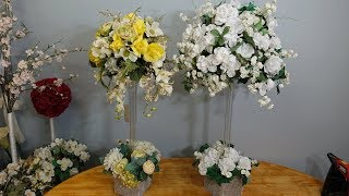 Dollar Store Table Centrepiece Ideas With Artificial Flowers DIY