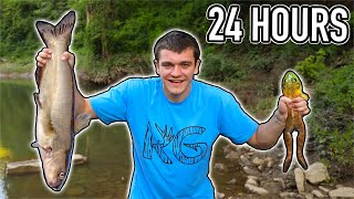 EATING ONLY WHAT I CATCH FOR 24 HOURS!