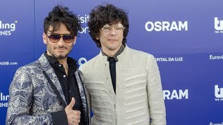 Interview with Ermal Meta & Fabrizio Moro from Italy @ Eurovision Blue carpet Lisbon 2018