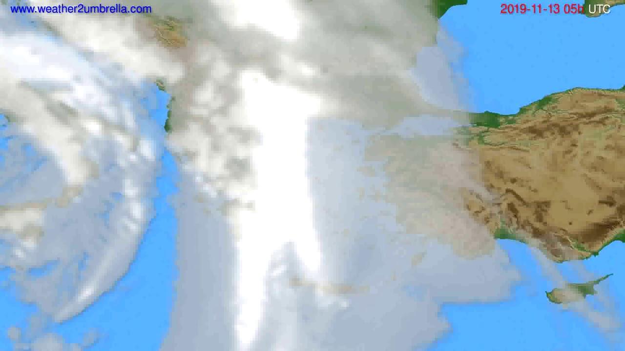 Cloud forecast Greece // modelrun: 12h UTC 2019-11-11