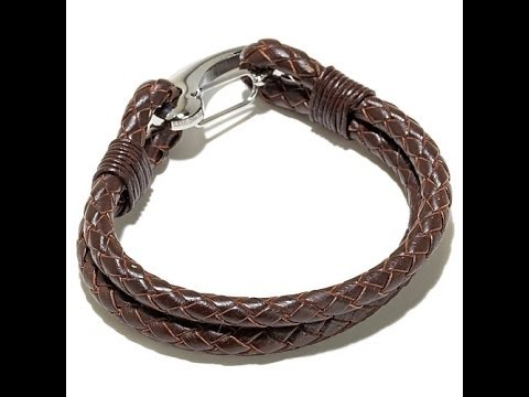 Men's Stainless Steel Double Braided Leather Bracelet