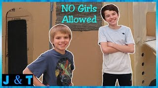 No Girls Allowed Boys Only Two Story Box Fort! / Jake and Ty