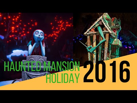 Haunted Mansion Holiday 2016 POV Ride - Nightmare Before Christmas Overlay at Disneyland