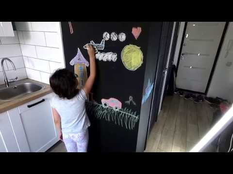 Как сделать грифельную стену, где можно рисовать мелом? Аккуратный стык краски. Сhalkboard DIY