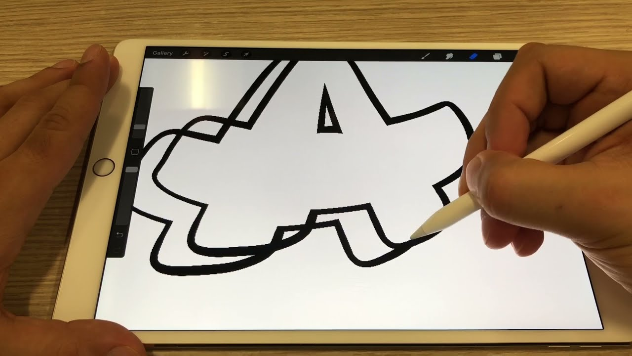 letter a drawing using procreate by simon dee