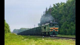 Тепловоз 2ТЭ10УК-0316 с грузовым поездом на Жлобин.